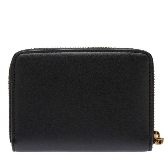 Womens Black Smooth Zip Around Wallet