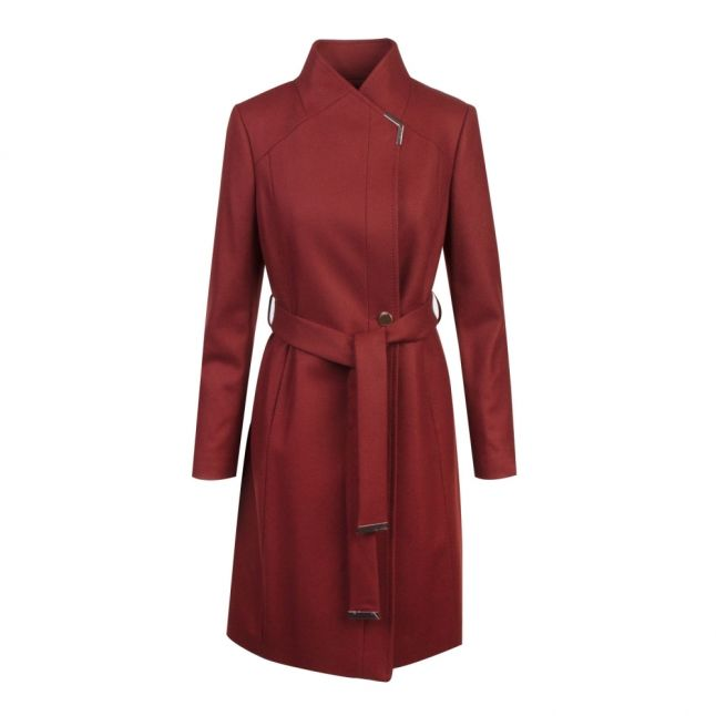 Womens Brown Ellgenc Long Wool Wrap Coat