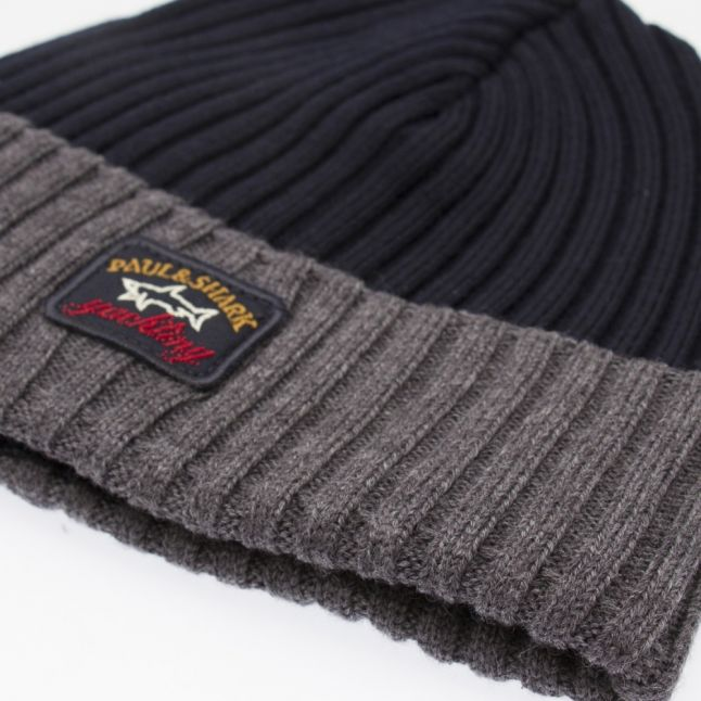 Mens Navy/Grey Branded Tonal Knitted Hat