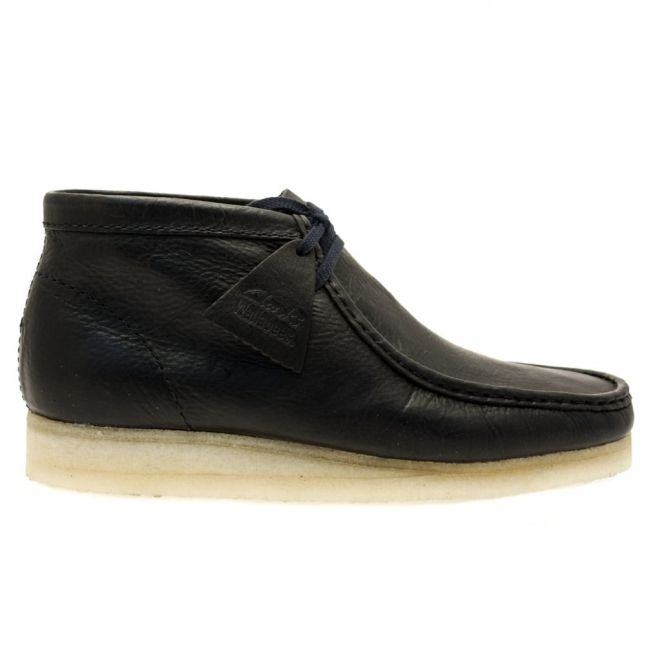 Mens Navy Leather Wallabee Boots