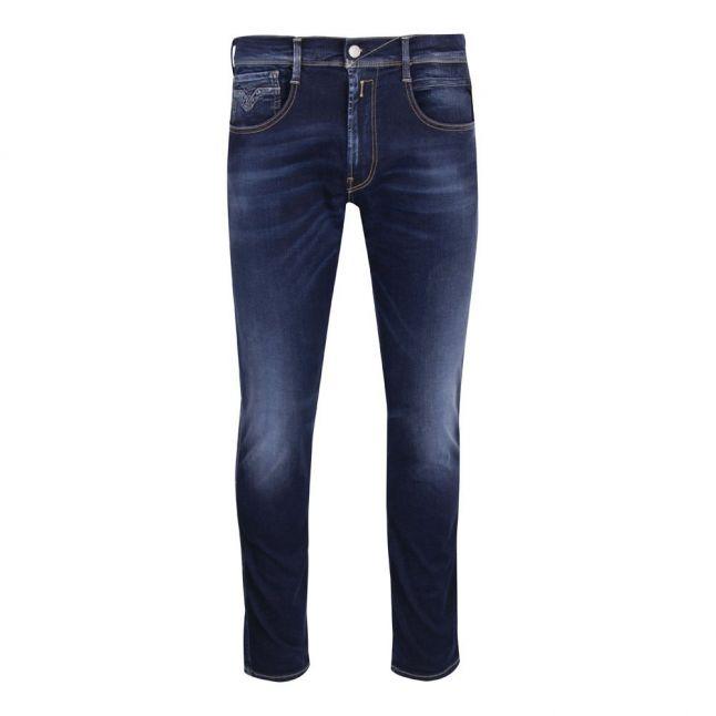 Mens Dark Blue Anbass Hyperflex Re-Used Slim Fit Jeans