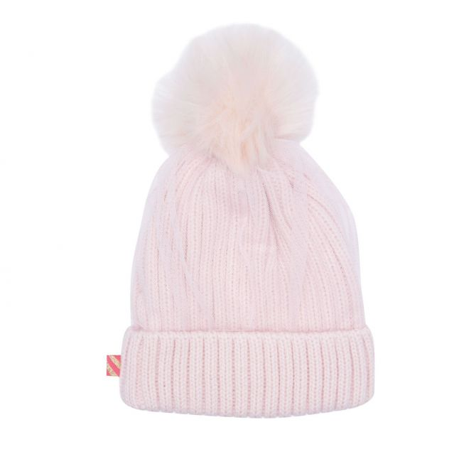 Girls Pale Pink Sequin Knitted Pom Hat