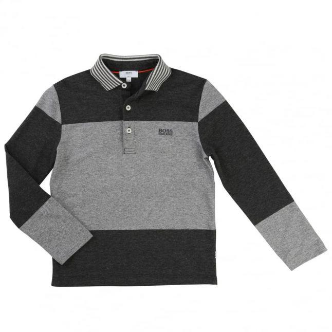 Boys Grey Colour Block L/s Polo Shirt