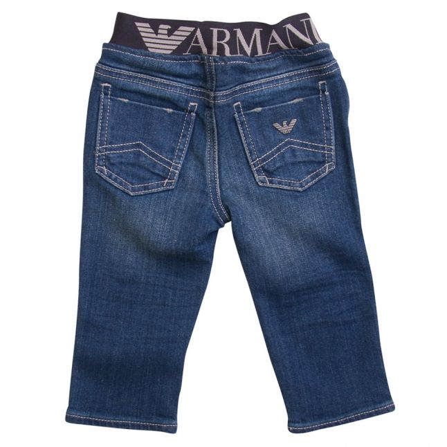 Baby Blue Wash Branded Waistband Jeans