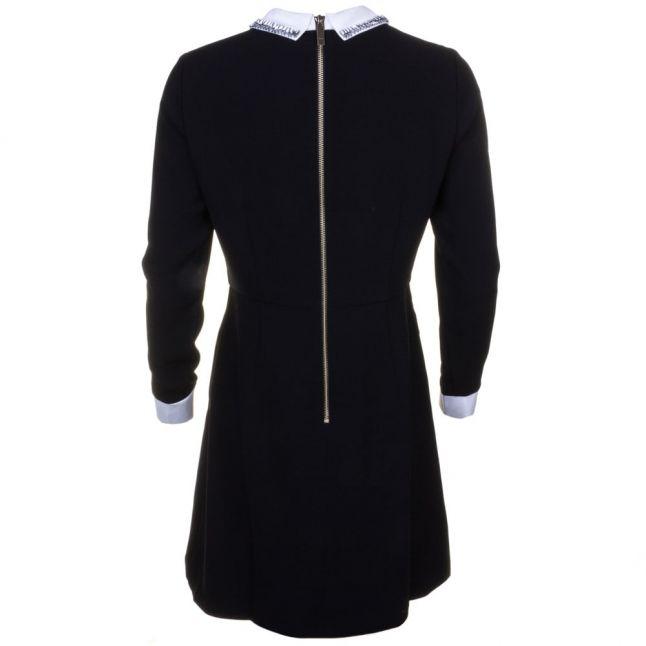 Womens Black Timu Collar Detail Dress
