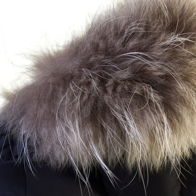 Womens Amiral Authentic Fur Hooded Smooth Jacket