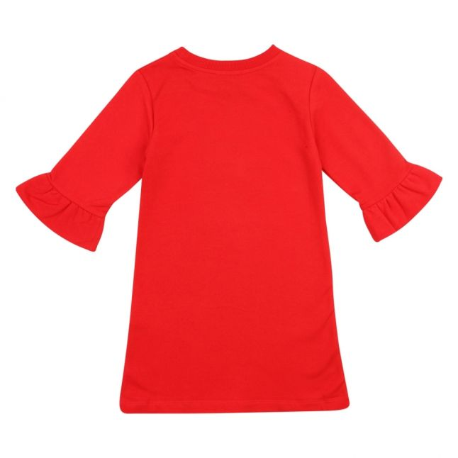 Girls Poppy Red Toy Glitter Heart Dress