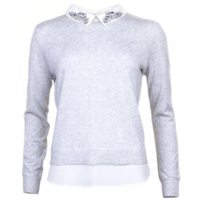 Womens Mid Grey Miriah Shirt Detail Knitted Jumper