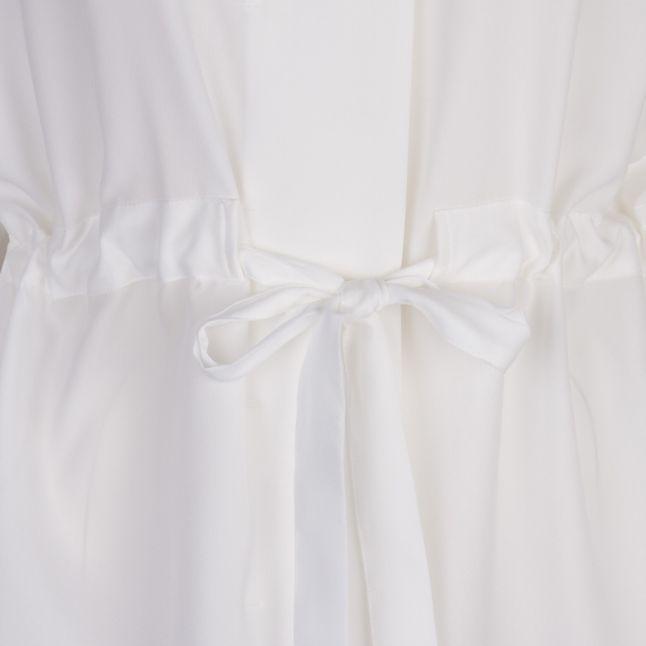Womens Winter White Crepe Light Gathered Waist Blouse