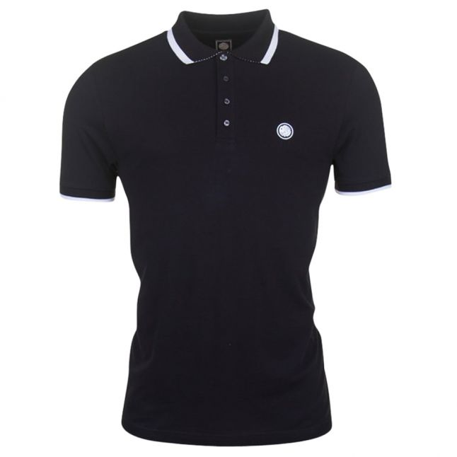 Mens Black Multistripe S/s Polo Shirt