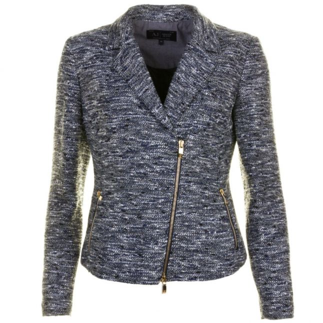Womens Blue Lurex Boucle Blazer