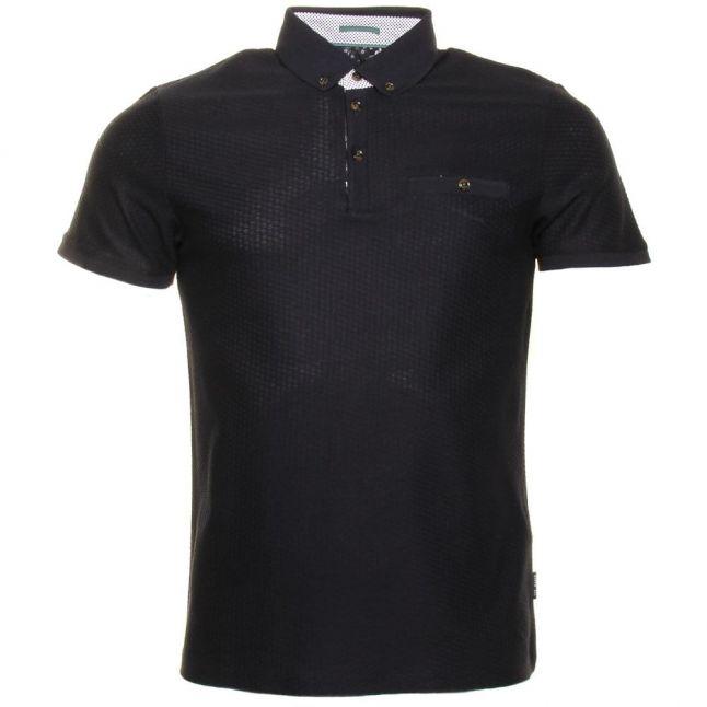 Mens Navy Tipytoe Textured S/s Polo Shirt