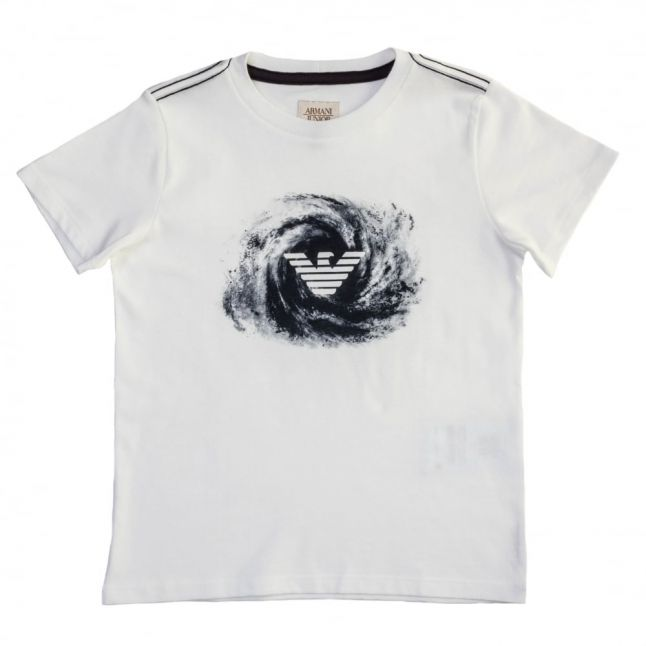 Boys White Wave Print Logo S/s Tee Shirt