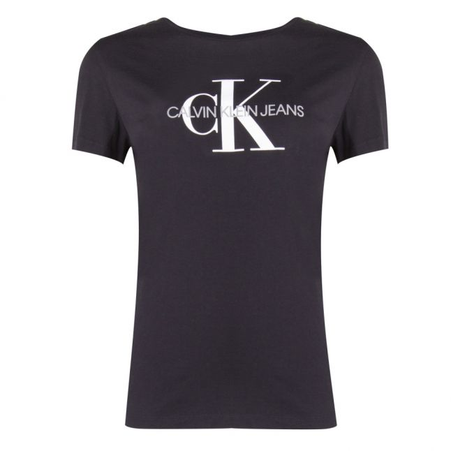Womens Black Monogram Logo Regular Fit S/s T Shirt