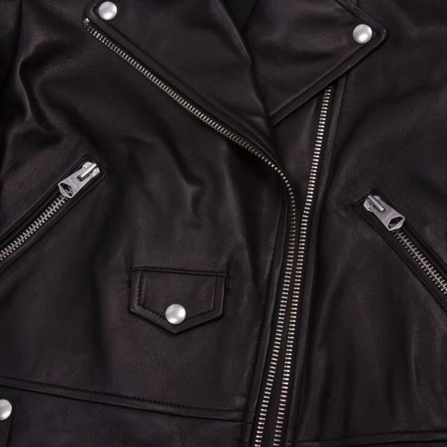 Womens Black Baya-R Leather Biker Jacket