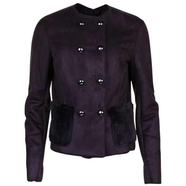 Womens Black Double Breasted Jacket