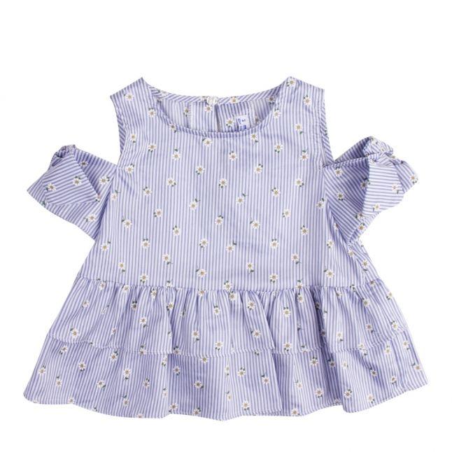 Girls Blue Daisy Stripe Off-Shoulder Top