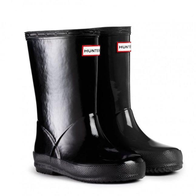 Kids Black First Gloss Wellington Boots (4-8)