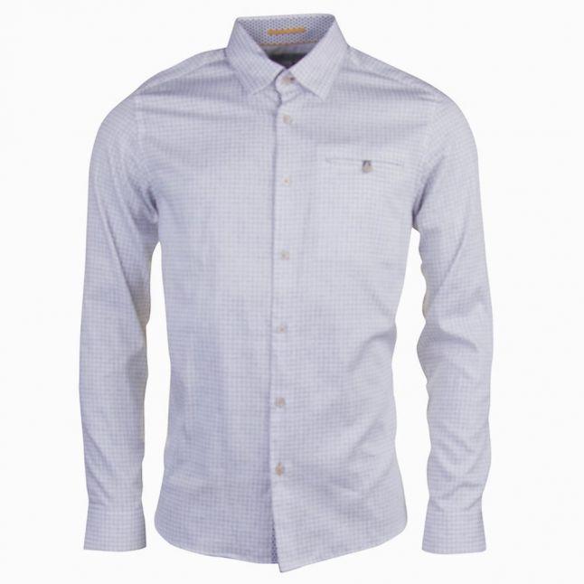 Mens White Lolli Check L/s Shirt