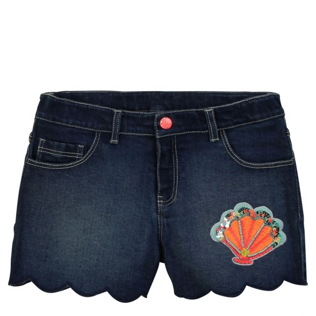 Girls Dark Blue Embellished Denim Shorts