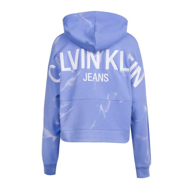 Womens Powdery Blue Lava Dye Cropped Hoodie