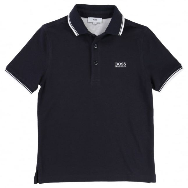 Boys Navy Tipped Branded S/s Polo Shirt