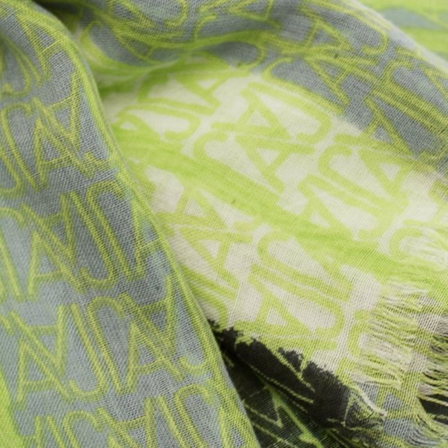 Womens Green Micro Multi Logo Scarf