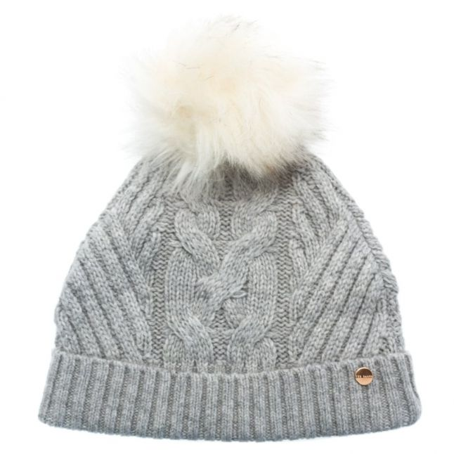 Womens Mid Grey Lisabet Cable Knitted Pom Pom Hat