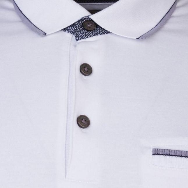 Mens White Kiwi Tipped Pocket S/s Polo Shirt