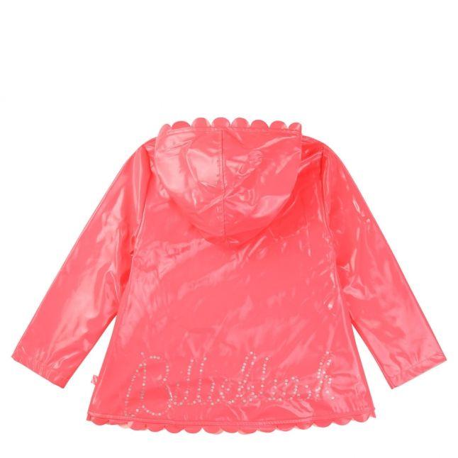 Girls Pink Fluoro Scalloped Edge Rain Coat