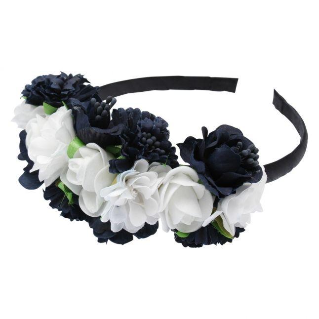 Girls Navy Flowers Headband