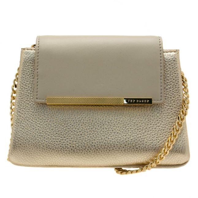 Womens Light Grey Fae Metallic Mini Cross Body Bag