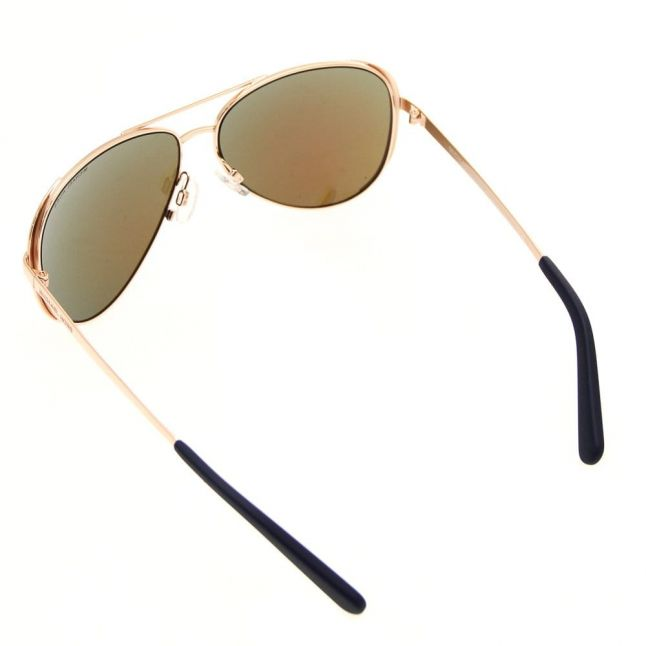 Womens Rose Gold & Blue Mirror Chelsea Sunglasses