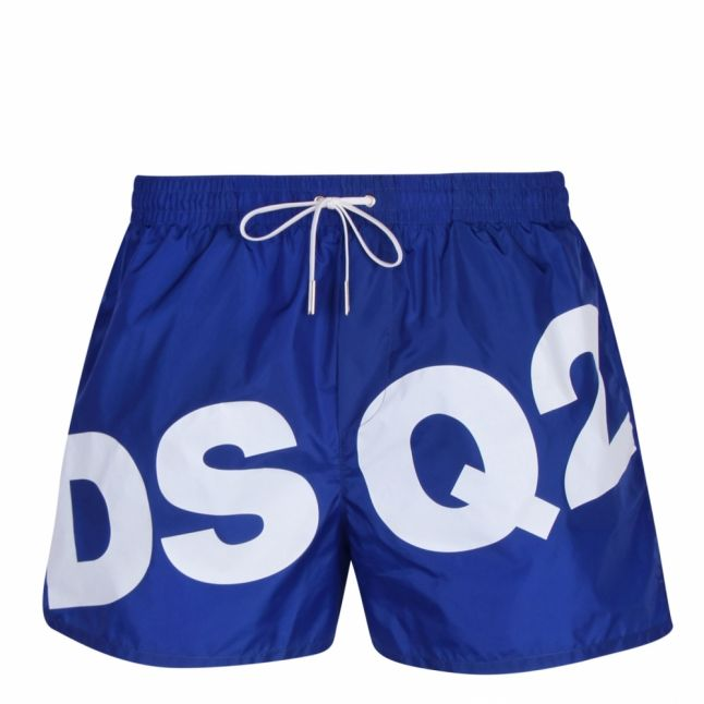 Mens Blue/White Large Logo Swim Shorts