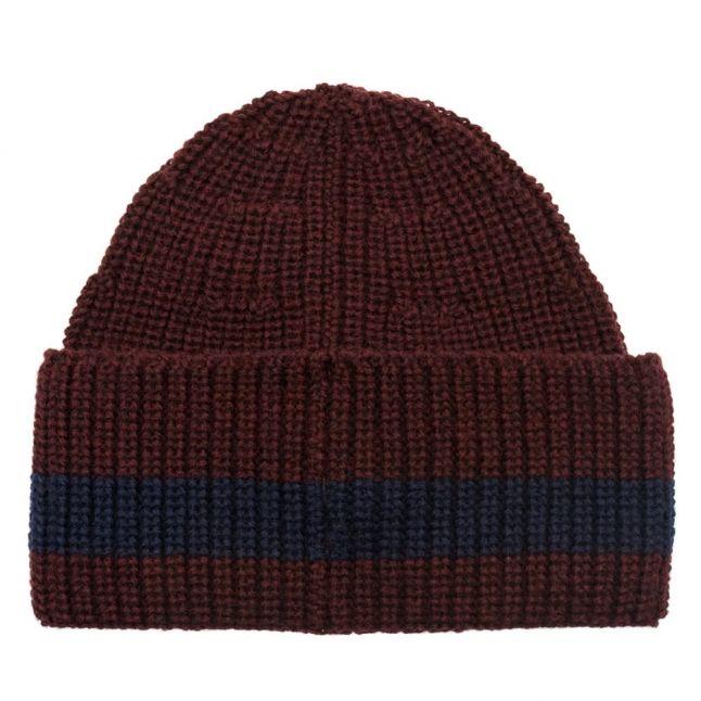 Mens Burgundy Stripe Detail Knitted Hat