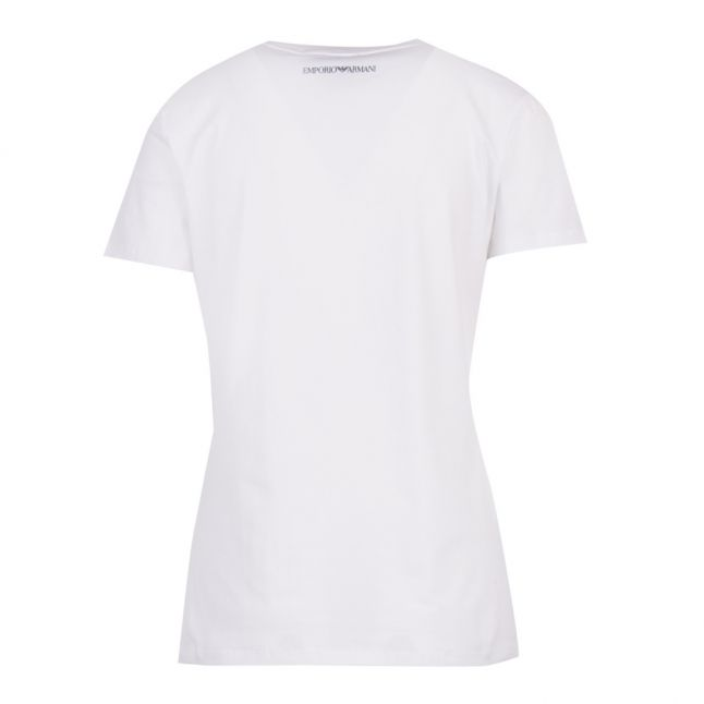 Womens White Sequin Wave Logo S/s T Shirt