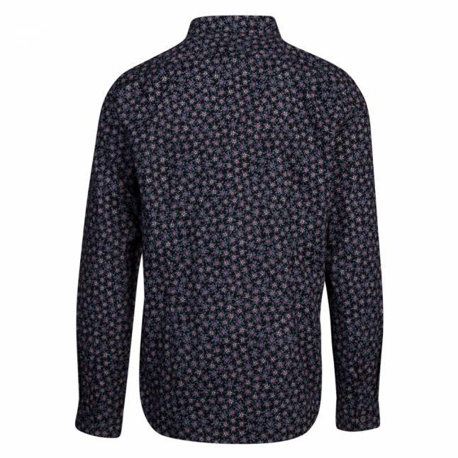Mens Black Small Floral Print Slim Fit L/s Shirt