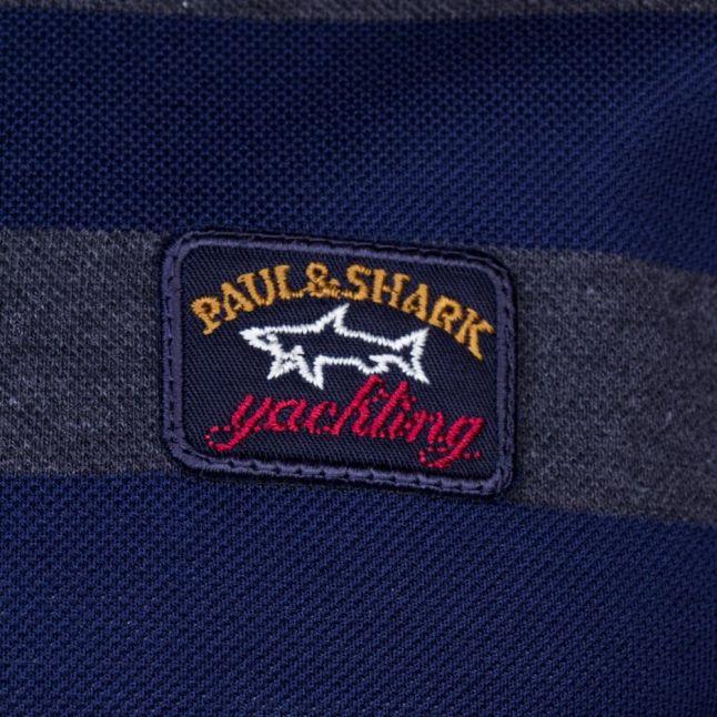 Paul & Shark Mens Grey Striped Shark Fit S/s Polo Shirt