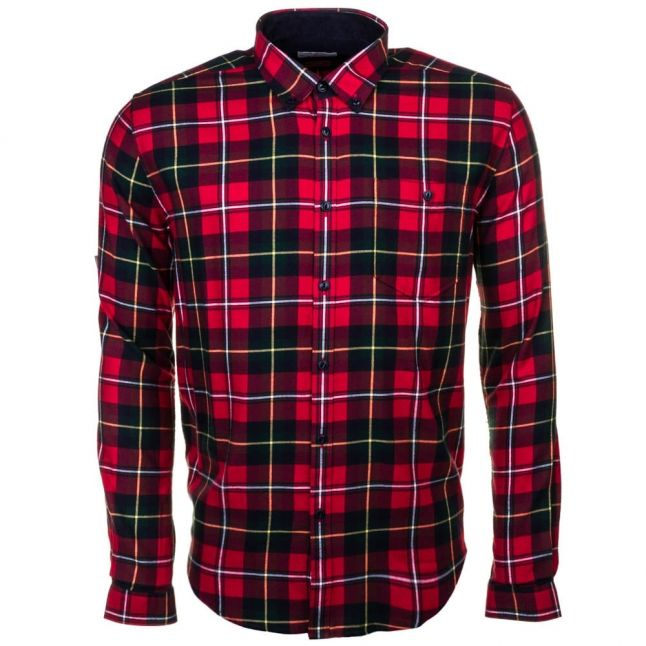 Heritage Mens Rich Red Sea Mill Check Slim Fit L/s Shirt
