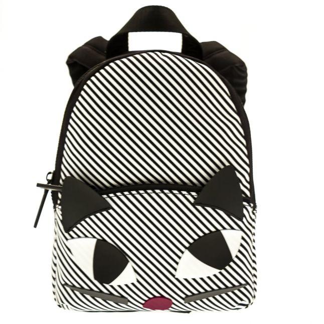 Womens Black & White Stripe Kooky Cat Backpack