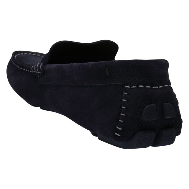 Mens Navy Cottn Suede Driving Shoes
