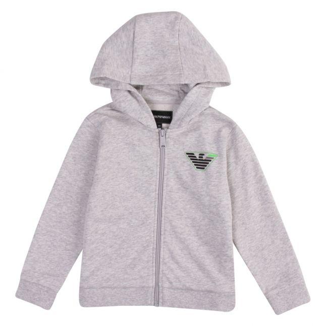 Boys Grey Melange Tipped Eagle Hooded Zip Through Tracksuit