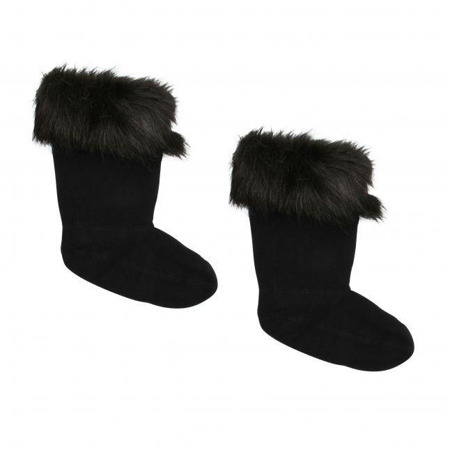 Kids Black Faux Fur Boot Socks