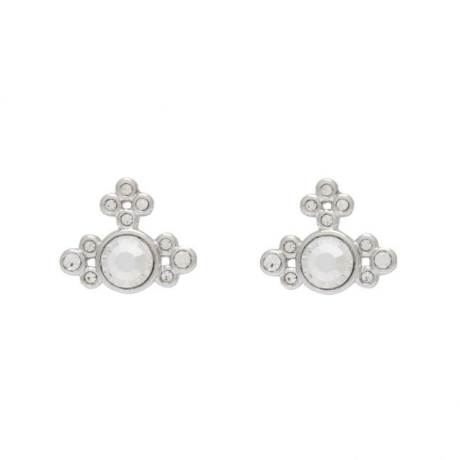 Womens Silver Crystal Brucella Bas Relief Earrings