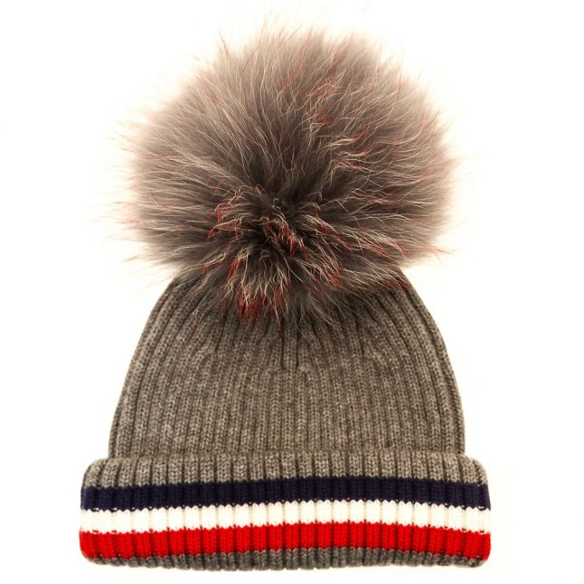 Bklyn Womens Grey, Red, White & Blue Merino Wool Hat With Changeable Pom