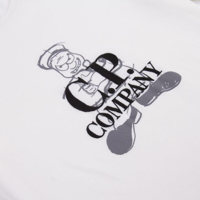 Boys Gauze White Goggle Back Print S/s T Shirt