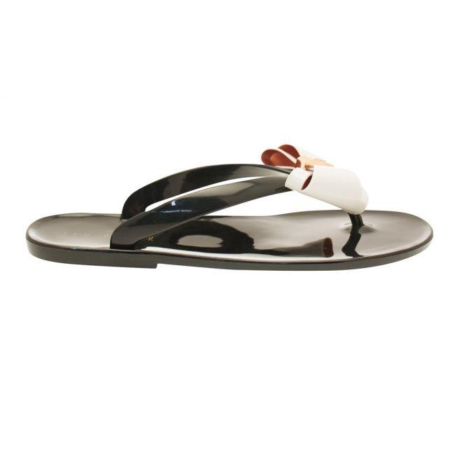 Womens Black & Cream Rafeek Flip Flops