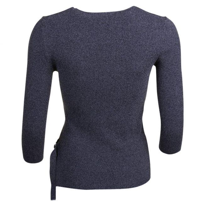 Womens Grey Melange Side Tie Top