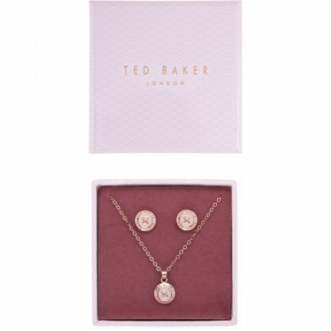 Womens Rose Gold/Baby Pink Emillia Mini Button Necklace & Earrings Gift Set