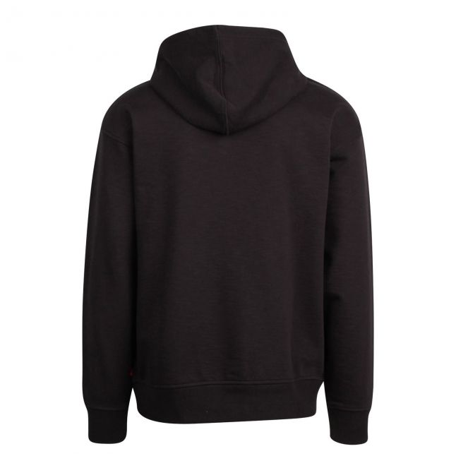 Mens Jet Black Relaxed Graphic Hoodie